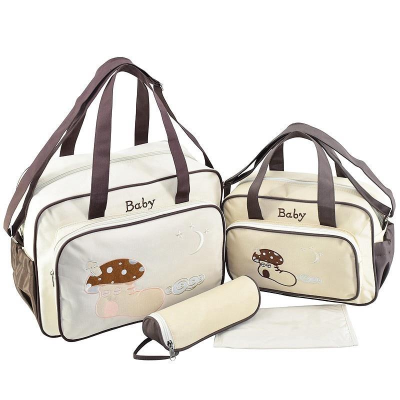 MOTOHOOD 4pcs Baby Diaper Bag Sets For Mom Maternity Baby Bag Organizer Bottle Bag + Nappy Map Cute Shoes Printing Nappy Bag (9)