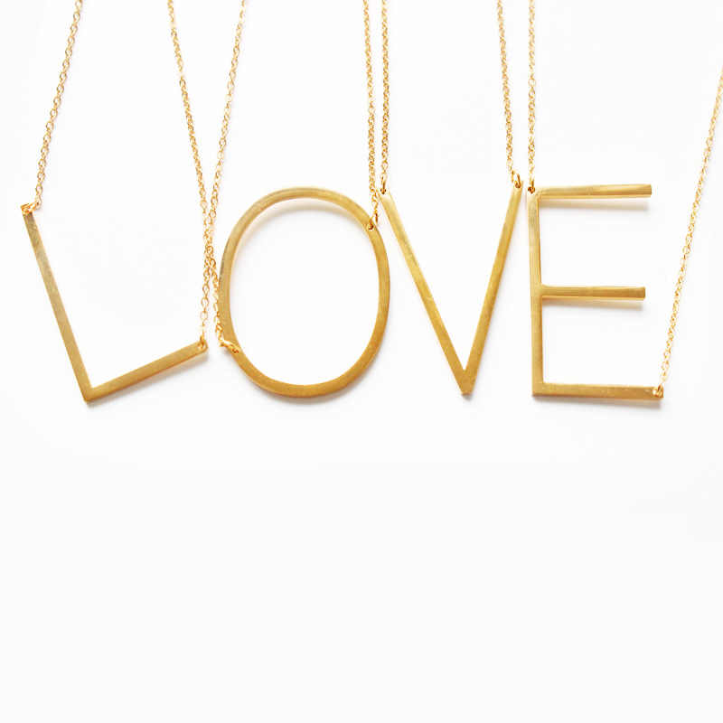 Fashion Letter Necklaces Pendants alphabet Gold Color Stainless Steel Choker Initial Necklace Women Girl Jewelry Collier