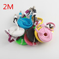 2M/6FT High Quality mix Colors  Flat  cable  for iPhone 5 5s 6 6Plus 8pin Data Syn Charging Charger  Cords