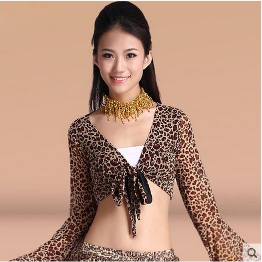 New Arrival Chiffon Belly Dance Top Momen Leopard Long Sleeves  Belly Dance Tops Colors Sexy Tops