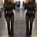 Fashion women rompers 2017 new Arrivals Spring summer black sexy party club wear long sleeve mesh perspective bodycon jumpsuit