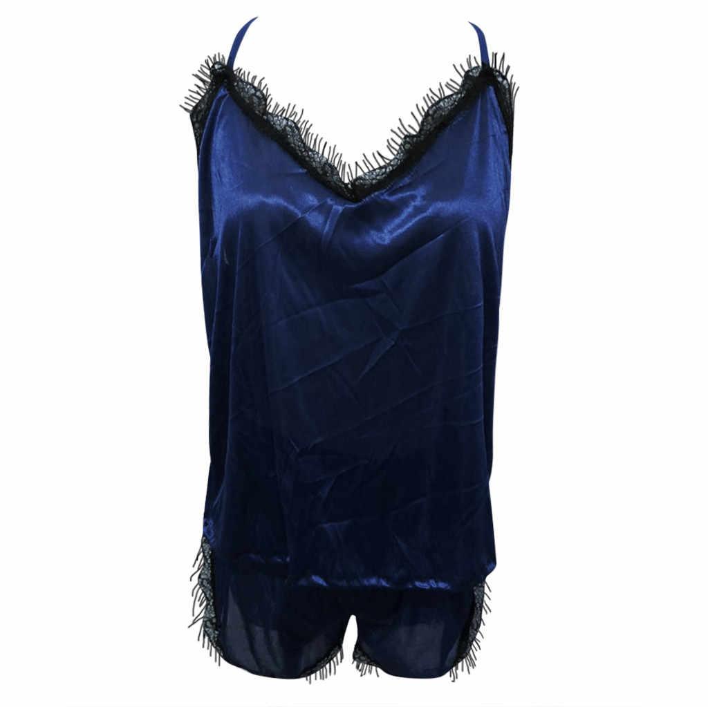 Womail Wanita Tanpa Lengan Tali Baju Tidur Renda Patchwork Trim Satin Cami Top Piyama Set Mulus Sehari-hari Baju Tidur W30605