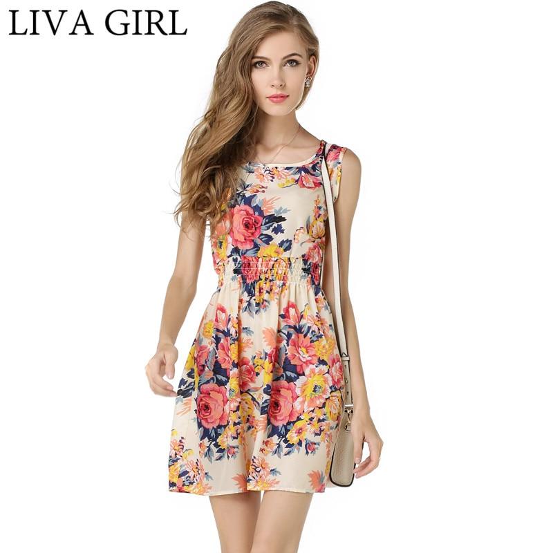35f0f24363d LIVAGIRL New Spring Sexy Summer Beach Dress Female O-neck Sleeveless Sling  Dresses For Women