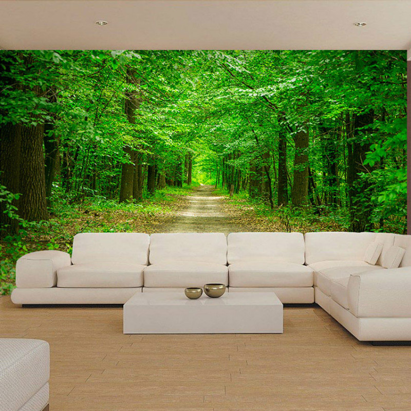 Custom large mural 3d wallpaper forest tree nature landscape living room sofa TV background wall paper bedroom  restaurant custom green forest trees natural landscape mural for living room bedroom tv backdrop of modern 3d vinyl wallpaper murals
