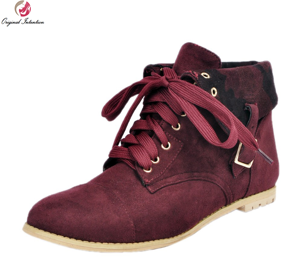 Original Intention New Classic Women Ankle Boots Round Toe Square Heels Cool Wine Red Shoes Woman US Size 4-15