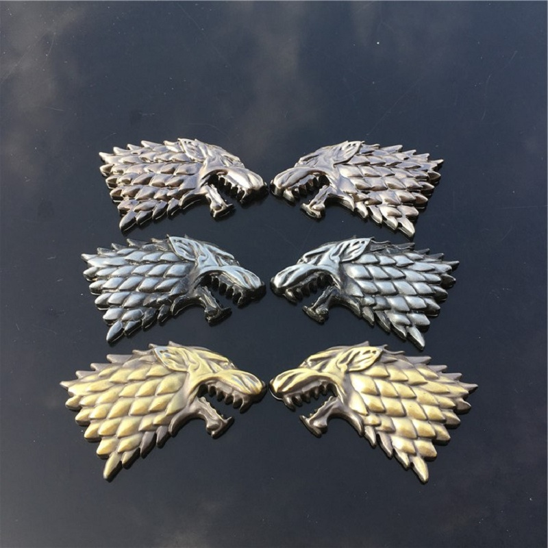 Rhino Tuning Game of Thrones House Stark Direwolf Family Totem Metal Car Badge Emblem Sticker Fit Silverado F-Series Escape 459