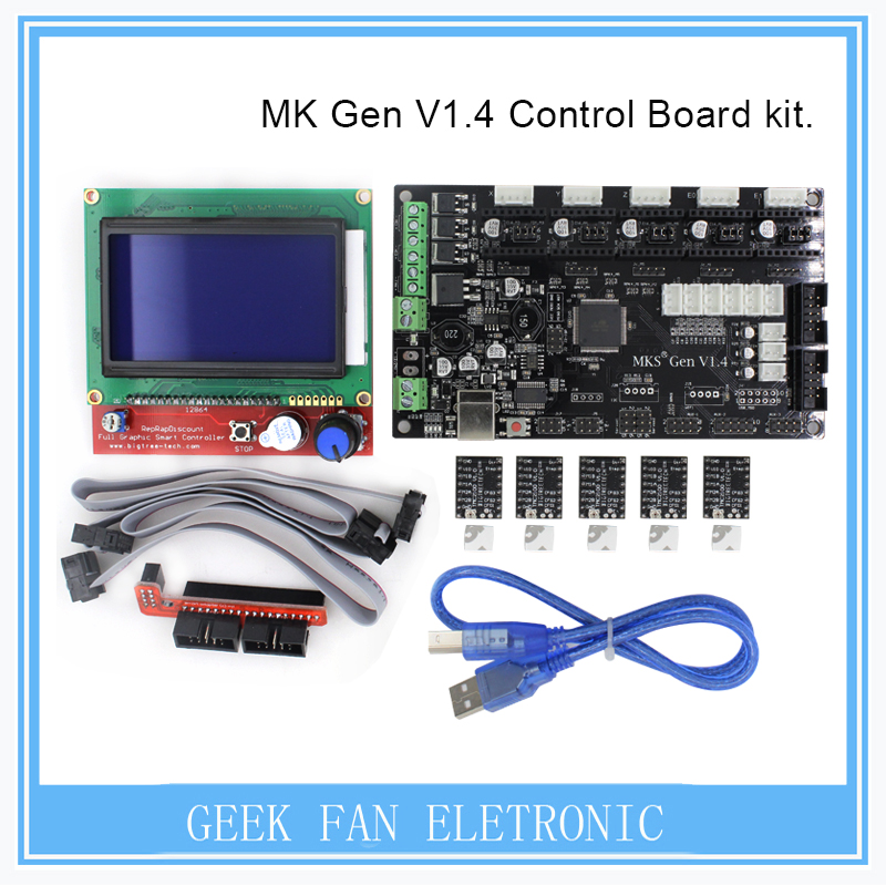 BIQU MKS Gen V1.4 3D printer kit with MKS Gen V1.4 RepRap board + 5PCS TMC2100 Driver/DRV8825/A4988+ 12864 Graphic LCD 3d printer start kits mother board rumba board with 6pcs drv8825 stepper driver and 6pcs heatsink with free shipping