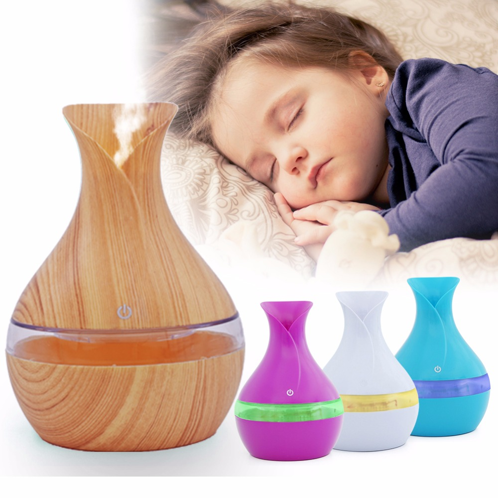 200300ML USB Air Humidifier Essential Oil Diffuser Atomizer Ultrasonic Humidifier Wood Grain Aromatherpy Diffuser Mist Maker