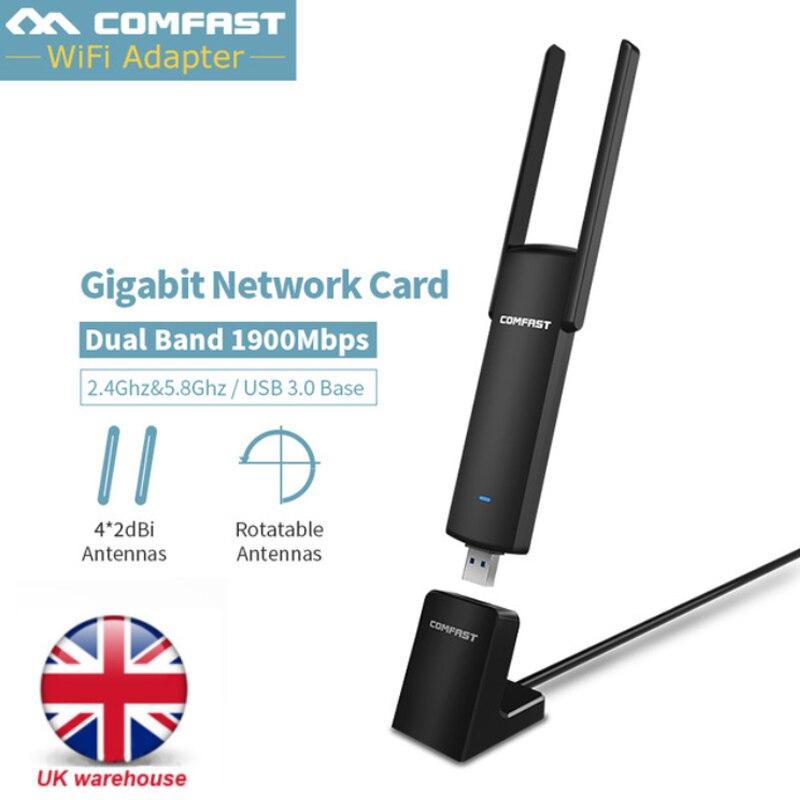 1900 Mbps double bande 2.4G5Ghz USB WiFi adaptateur WiFi antenne 2db sans fil wi-fi récepteur 802.11ac USB Ethernet adaptateur carte réseau