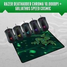 Razer deathadder chroma, 10000 dpi gaming maus + razer goliathus speed cosmic edition mousepad 270mm x 215mm x 3mm, freies Verschiffen