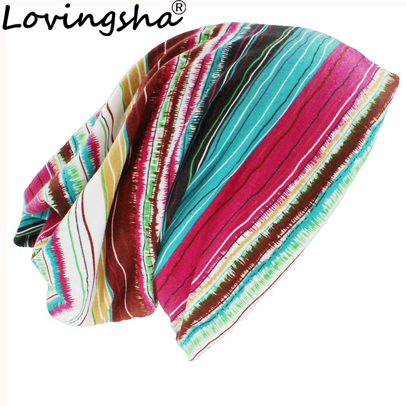 LOVINGSHA Autumn Winter Women Thin   Skullies     Beanies   Striped Design Hats For Girl Lady Fashion Feminino Multifunction Scarf HT099