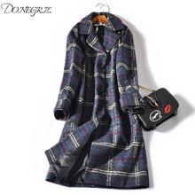 2018 New Autumn Wool Coat Women Vintage Plaid Lapel Long Woolen Overcoat Big Yard Loose Lattice Cashmere Wool Blends Outerwear