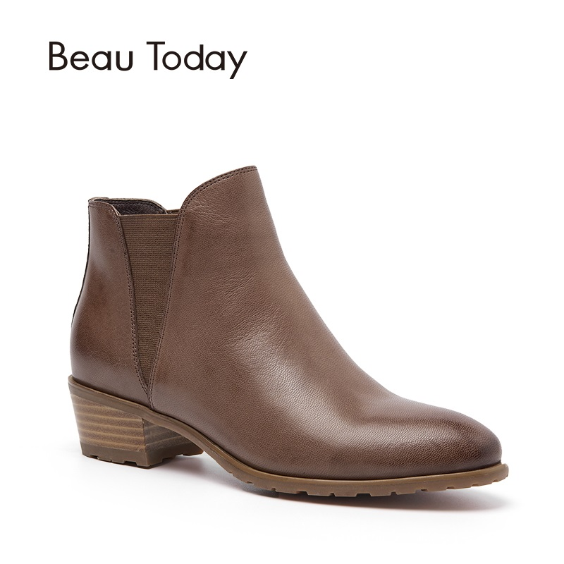 BeauToday Genuine Leather Women Chelsea Boots Spring Autumn Ankle Elastic Band Waxing Leather Europe Style Ladies Shoes 03214 elastic band women genuine leather ankle boots chelsea hand made shoes motorcycle coincise fashion black matte women s boots