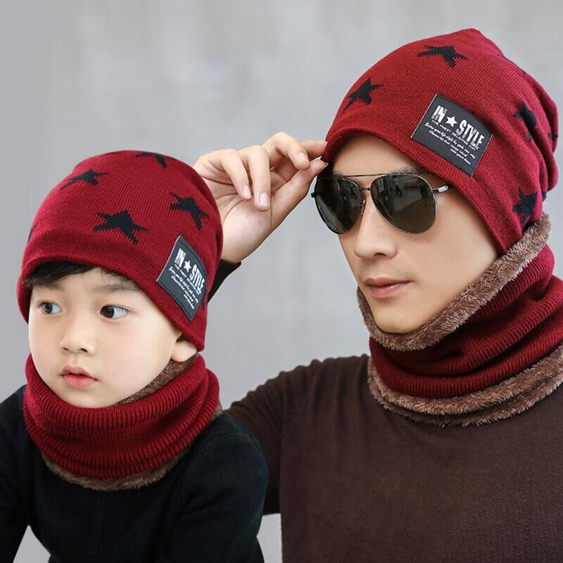 SUOGRY New Children Winter Warm Knitted Hat Caps With Scarves Of Thickened Wool For 6 To 10 Years Old Boys Windproof Outdoor Hat