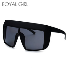 ROYAL GIRL Oversize Acetate Sunglasses Women Flat Top Square