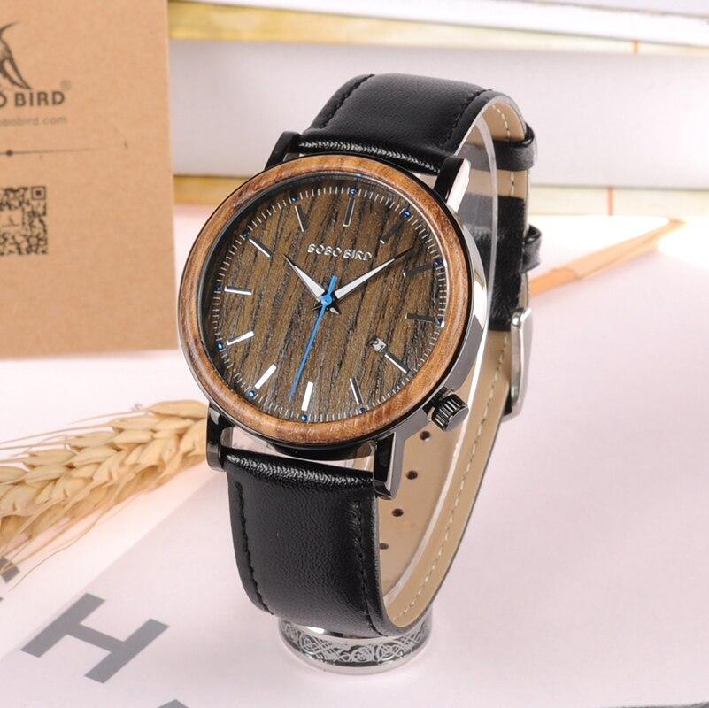 2017 BOBO BIRD Style Watch Men Genuine Leather Band Date Male Sport Wristwatches relogio masculino
