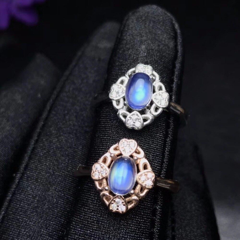 Uloveido 925 Sterling Silber Exquisite Oval Geschnitten Natürliche Blaue Mondstein Ring, Blume Form Edelstein Ring für Frauen FJ354-in Ringe aus Schmuck und Accessoires bei  Gruppe 1