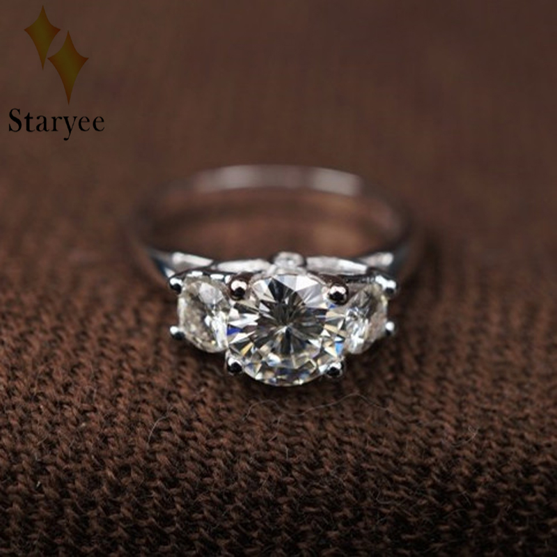 14K White Gold Moissanite Ring 1CT Engagement Ring Test Positive 3 Stone Moissanite Band Diamond Wedding Jewelry For Bride
