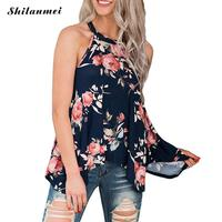Summer Casual Floral Printed Cami Top Female Sexy New Arrival Flower Print Spaghetti Strap Top Camisole