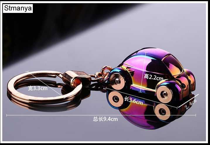 Top LED Xe Móc Chìa Khóa cặp vợ chồng Mới móc khóa Phụ Nữ Túi mặt dây chuyền Nam Vòng Chìa Khóa Xe 3D Móc Chìa Khóa Tự Động Bên quà tặng Trang Sức với hộp