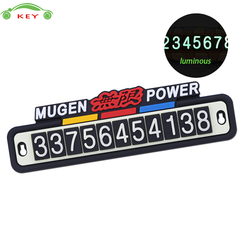 Car Styling Luminous Phone Number Parking Card Auto Sticker for Mugen Power Logo for Honda Civic CRV Crosstour Odyssey Insight lsrtw2017 car styling car trunk trims for honda crv 2017 2018 5th generation