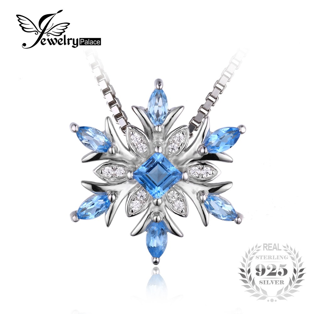 JewelryPalace Snowflake Genuine Blue Topaz Solid 925 Sterling Silver Pendant Natural stone Jewelry Women Not Include
