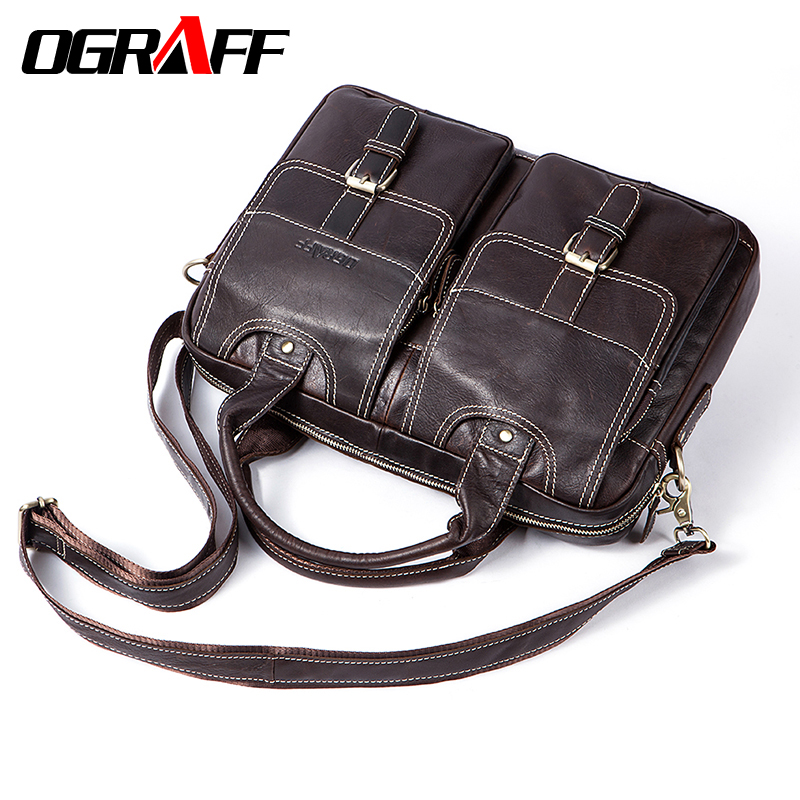 OGRAFF Genuine Leather Men Messenger Bag Men Leather Handbags Designer Briefcase Tote Laptop Bag Shoulder Bag Male Travel Bag ograff men shoulder bag men genuine leather handbag design briefcase crossbody messenger bags men leather laptop tote travel bag