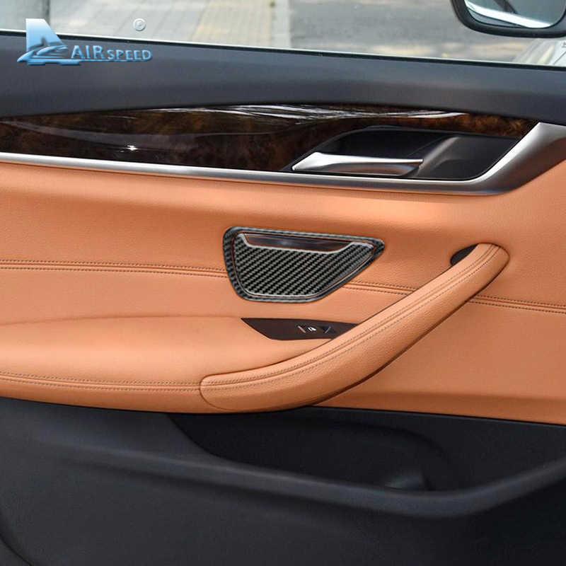 Airspeed สำหรับ BMW G30 อุปกรณ์เสริม BMW G30 คาร์บอนไฟเบอร์สำหรับ BMW G30 ภายใน Trim สติกเกอร์ประตูรถที่เขี่ยบุหรี่กรอบสติกเกอร์