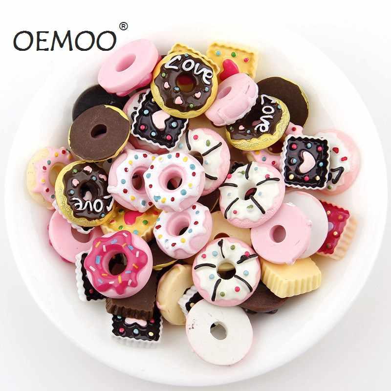 20 Uds. Mezcla de pastel donut Macaron resina Flatback cabujón Kawaii decoración miniatura resina crema pan alimentos para DIY