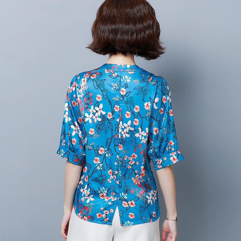 Korean Fashion Silk Women Blouses Satin Floral Short Sleeve Blue Women Shirts Plus Size XXXL 4XL Womens Tops and Blouses in Blouses amp Shirts from Women 39 s Clothing
