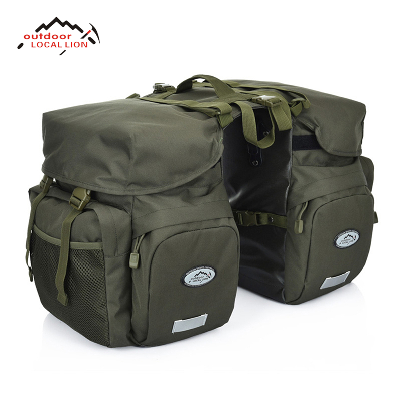 LOCALLION Retro Canvas Bicycle Carrier Bag 50L Rear Rack Trunk Bike Luggage Back Seat Pannier Reflectivs Cycling Storage Two Bag