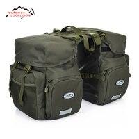LOCALLION Retro Canvas Bicycle Carrier Bag 50L Rear Rack Trunk Bike Luggage Back Seat Pannier Reflectivs