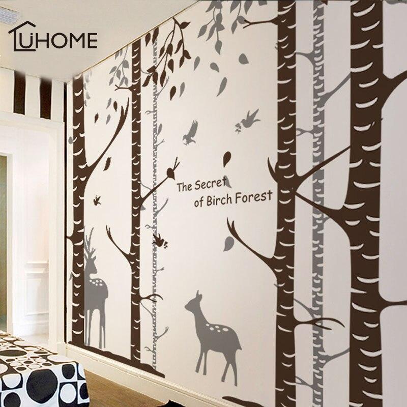 Grand bouleau arbre autocollant mural Branches oiseaux amovible pépinière Art stickers PVC papier peint forêt Elk autocollant pour salon décor
