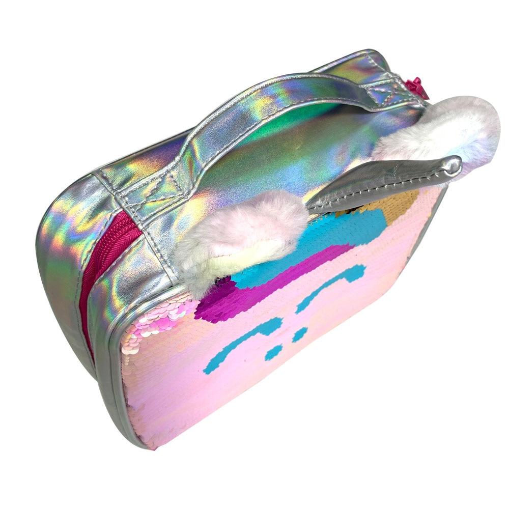 Unicórnio mágico sequin lancheira sereia rosa colorido