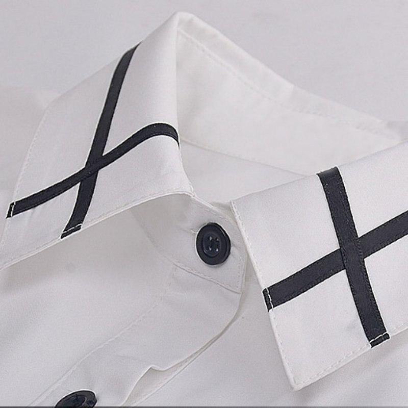 Nouveau Bureau Bouton Élégant En Mousseline De Soie Des Femmes De - Vêtements pour femmes - Photo 5