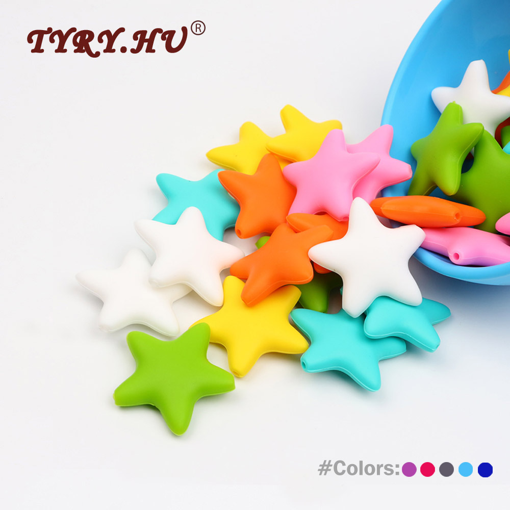 TYRY.HU Food Grade 5Pcs Star Silicone Beads Baby Teething Silicone  Beads Infant Oral Care DIY Jewelry Bracelet Necklace Toy
