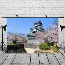 5x7ft Ancient Buildings Backdrop Kumamoto Castle Beautiful Scenery Photography Background and Studio Props