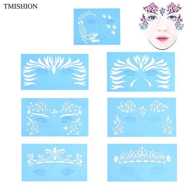 7 pièces/ensemble réutilisable visage peinture & aérographe paillettes tatouage pochoir corps peinture visage maquillage modèle dessin tatouage Design outil