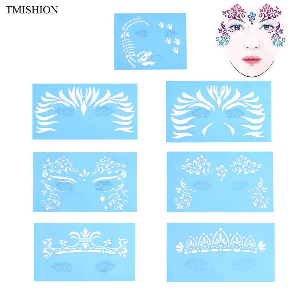 7Pcs/set Reusable Face Paint & Airbrush Glitter Tattoo Stencil Body Painting Facial Makeup Template Drawing Tattoo Design Tool блестки для макияжа nyx professional makeup face and body glitter 01 цвет 01 blue variant hex name 2b638a