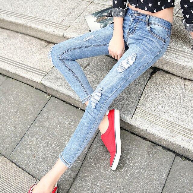 Весна осень p antyhose женский отверстие краски женские джинсы стрейч брюки ноги девять очков приток товаров YF89