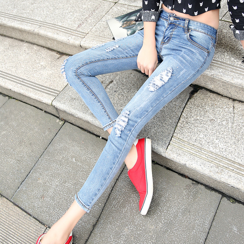Spring autumn p antyhose female hole paint women's jeans stretch pants feet nine points influx of goods YF89