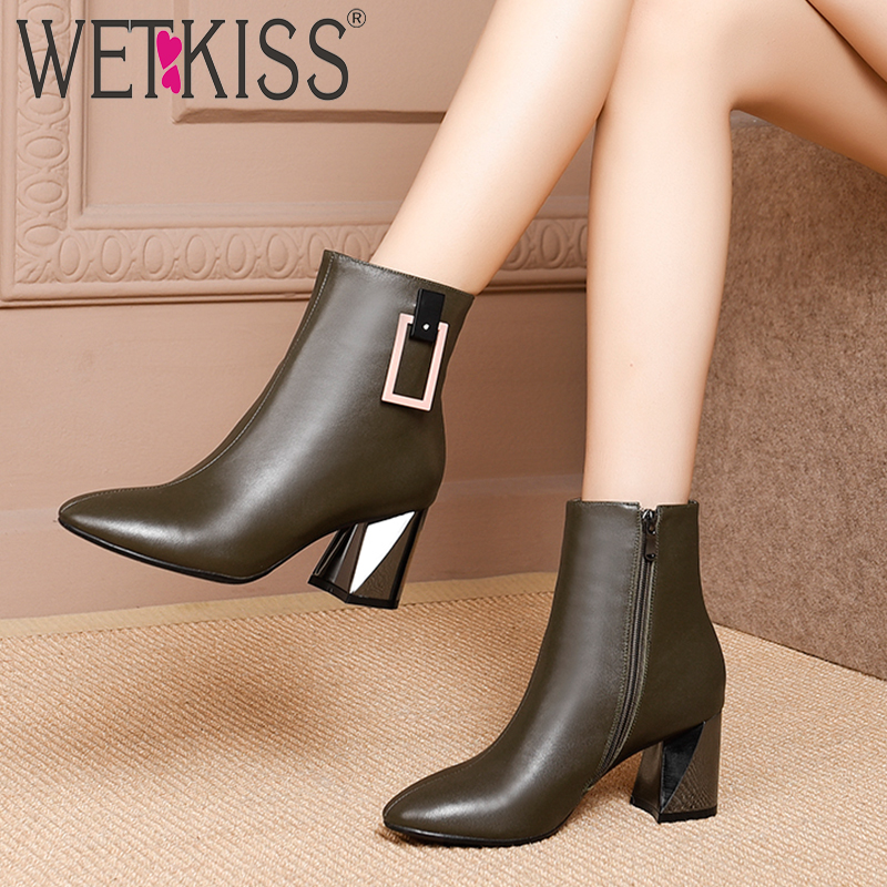 WETKISS Thick High Heels Women Ankle Boots Zip Square Toe Footwear Office Female Boot Cow Leather Shoes Woman 2019 Spring New