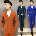 2016 Mens Stage Clothing Groom Wedding Dress Suits 3PCS/LOT Double Breasted Suit With Pants Vest Blazers Slim Fit Male Blaser