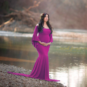Image 1 - Shoulderless Maternity Dresses For Photo Shoot Maternity Photography Props Maxi Pregnancy Dresses For Pregnant Women Clothes