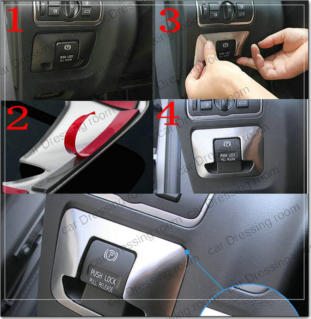 auto styling elektronische handrem decal frame cover trim auto accessoires interieur pailletten sticker voor volvo xc60