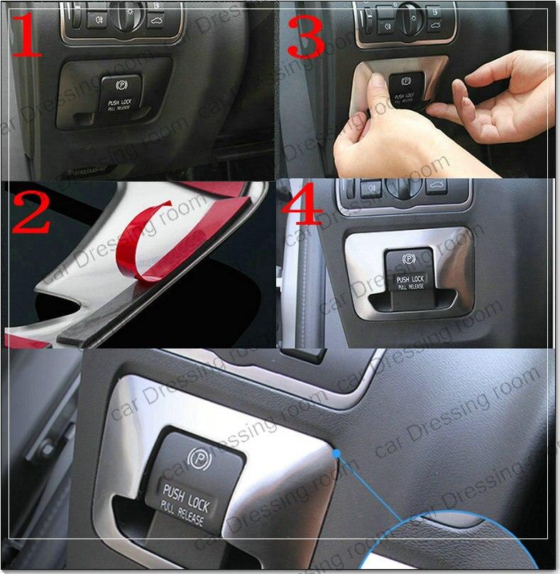 Car styling electronic handbrake decal frame cover trim car accessories interior sequins sticker for Volvo XC60 S60 V60 S80 купить шаровую на volvo s80 неоригинал