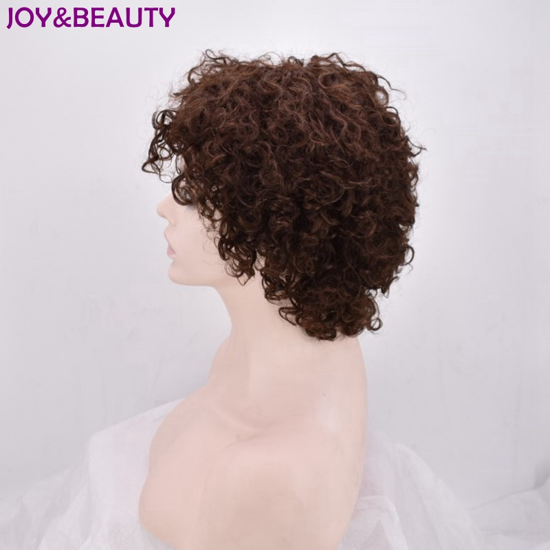 JOY&BEAUTY Short Curly Wig 12inch Synthetic Short Wigs Brown And Black color High Temperature Fiber for African Women