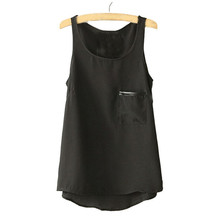New Fashion Simple Lady Women Loose Casual Pocket Chiffon Sleeveless Vest Blouse Shirt