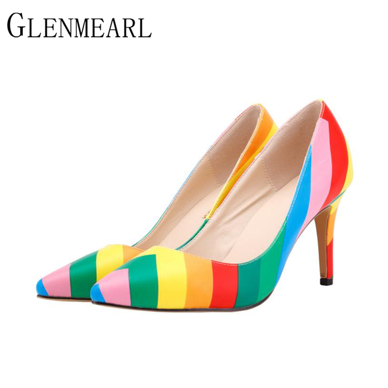2018 New Sexy Stiletto Women Pumps Shoes Plus Size Spring Pointed High-heeled Women's Shoes Brand Female Thin High Heels Shoes35 new spring pumps fashion sexy slim thin high heels suede belt buckle shallow pointed high heeled shoes elegant stiletto g2586 35
