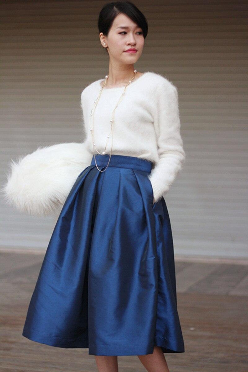 93f0e4222 50 s 60 s Estilo Vintage Midi Faldas Para Mujer Otoño Bolsillos Plisados  Plus Solid Tamaño XXS 7XL Balón vestido de Partido de La Falda 2016 en ...